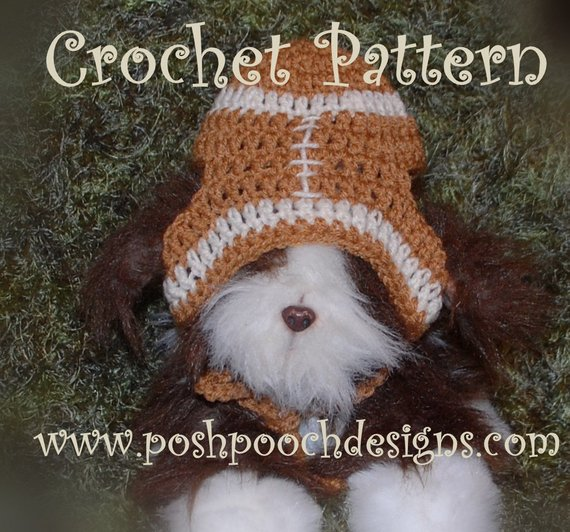 Instant Download Crochet Pattern - Football Dog Hat for Medium and Large  Dogs Football dog Beanie 38ca98c47c7