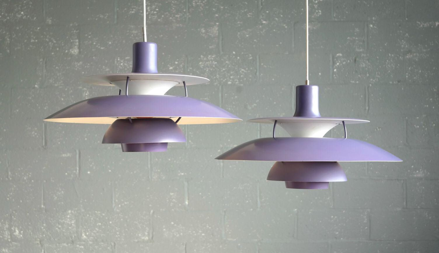 Poul henningsen for louis poulsen purple model ph pendant lamps