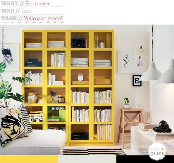 Take Your Pick: Yellow or Green Bookcase | Bookshelf styling ...