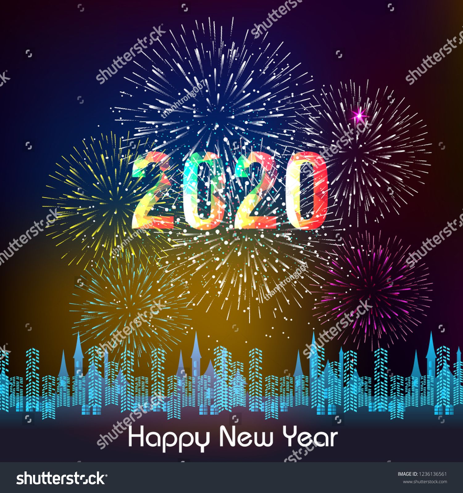 Image vectorielle de stock de Happy New Year 2020