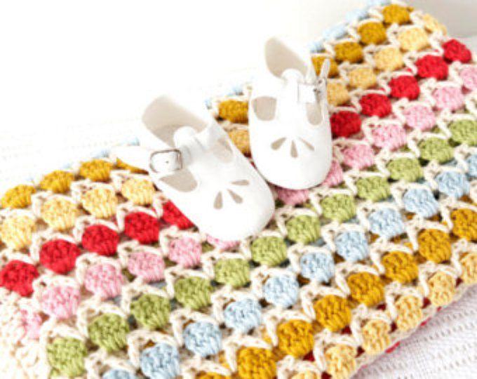 Easy Blanket Pattern, Baby Bedding, White Blanket, Girl Nursery ...