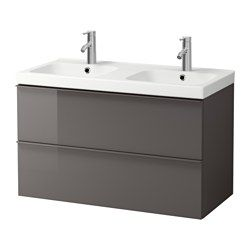 "IKEA - GODMORGON / ODENSVIK, Sink cabinet with 2 drawers, black-brown, 39 3/8x19 1/4x25 1/4 "", , 10-year Limited Warranty. Read about the terms in the Limited Warranty brochure.Smooth-running and soft-closing drawers with pull-out stop.You can easily change the size of the box by moving the divider.You can easily see and reach your things because the drawers pull out fully.Drawers made of solid wood, with bottom in scratch-resistant melamine.Perfect for more than one since the sinks has two…"