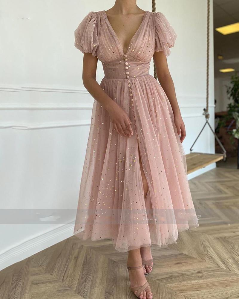 Pink V Neck Formal 1950s Prom Dress Short Sleeves Swing Dress Sp10301 In 2021 Prom Dresses Short Sleeved Swing Dress Formal Dresses With Sleeves [ 1000 x 800 Pixel ]