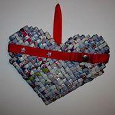 coração trançado - papel reciclado