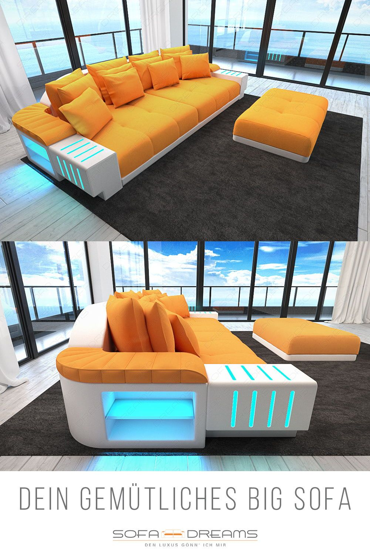 Leather Couch Corner Couch Sofa Xxl Colour Led Lighting Living Room Modern Designer Sofa Bigsofa Set Concept Real Leather Sofa D Sofa Design Ledersofa Ecksofas