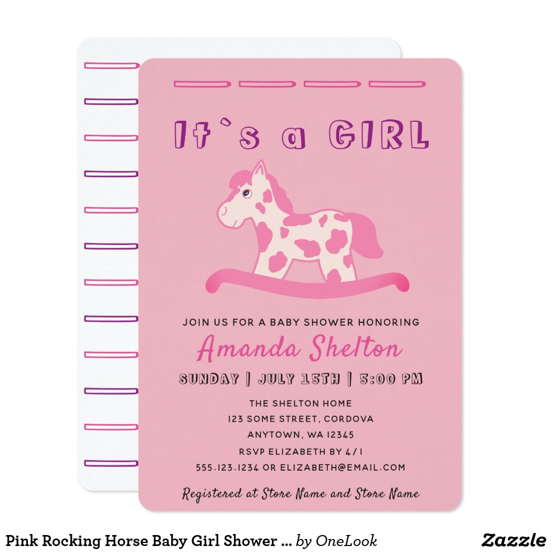 Pink Rocking Horse Baby Girl Shower Invitation | Baby girl shower ...