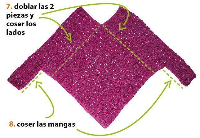Cómo tejer un poncho con mangas a crochet | prendas de punto y otras ...