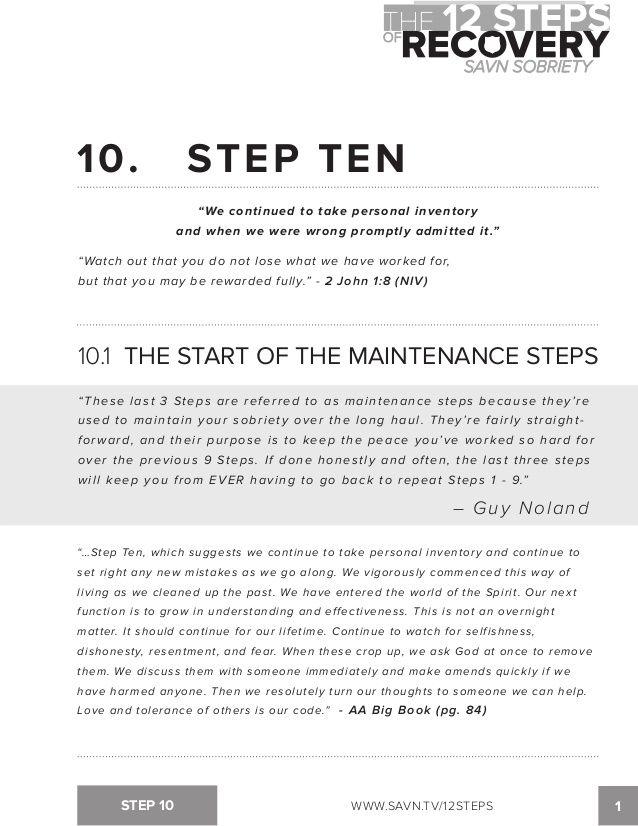 Step 10 Aa Worksheet : worksheet, Worksheets, Ideas, Worksheets,, Step,, Recovery