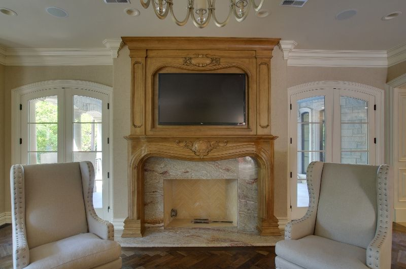 Custom, Hand-Carved Chinese Yellow Marble fireplace surround with ...