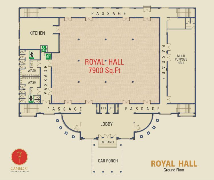 Camelot convention centre royal hall offer king size for Banquet floor plan template