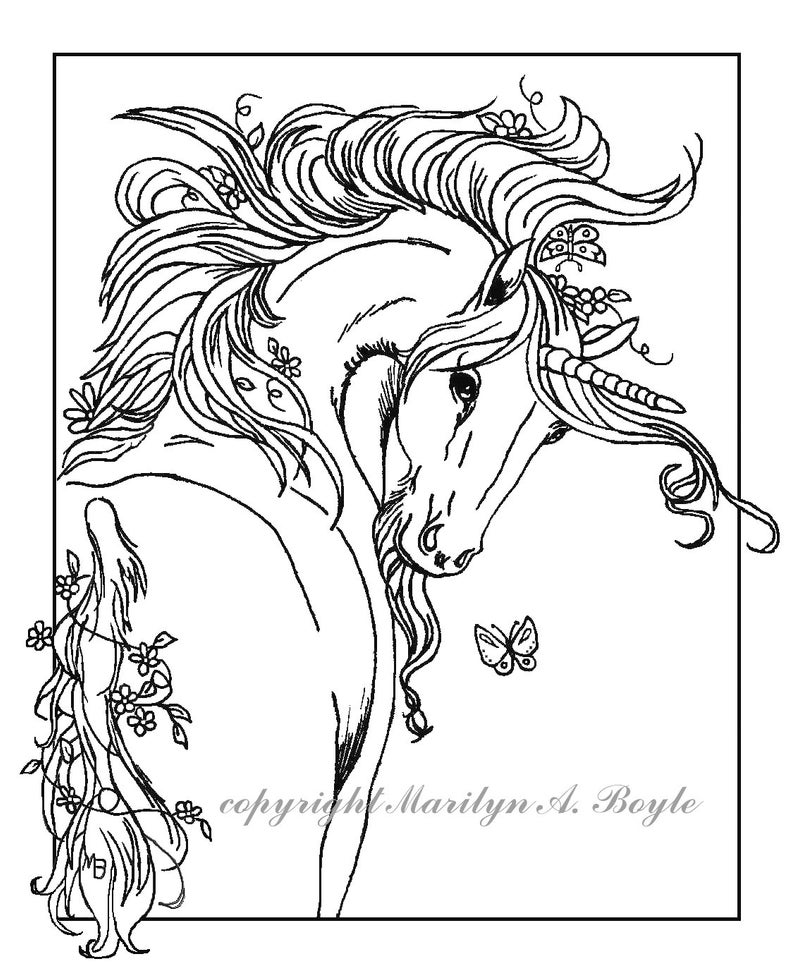 ADULT COLORING PAGE Unicorn; digital download,fantasy