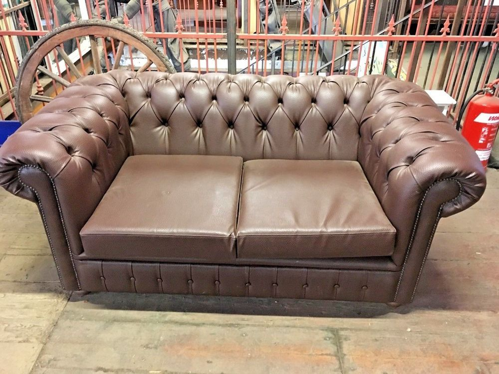 Marvelous Brown Faux Leather Settee Sofa 2 Seater Sofa Beutiful Home Inspiration Xortanetmahrainfo