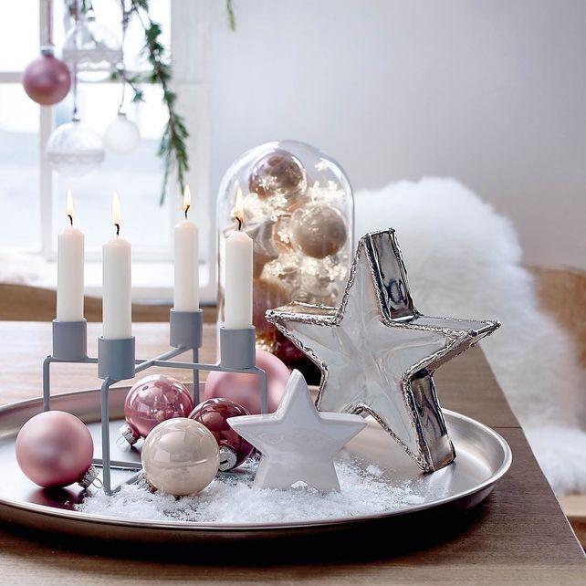 Stern Perlen Silber Eiskristall Metall Weiß Weihnachten