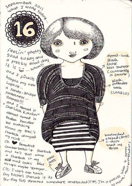 16 Sept 2011 |  What I Wore Today: Drawings of people and their clothes.