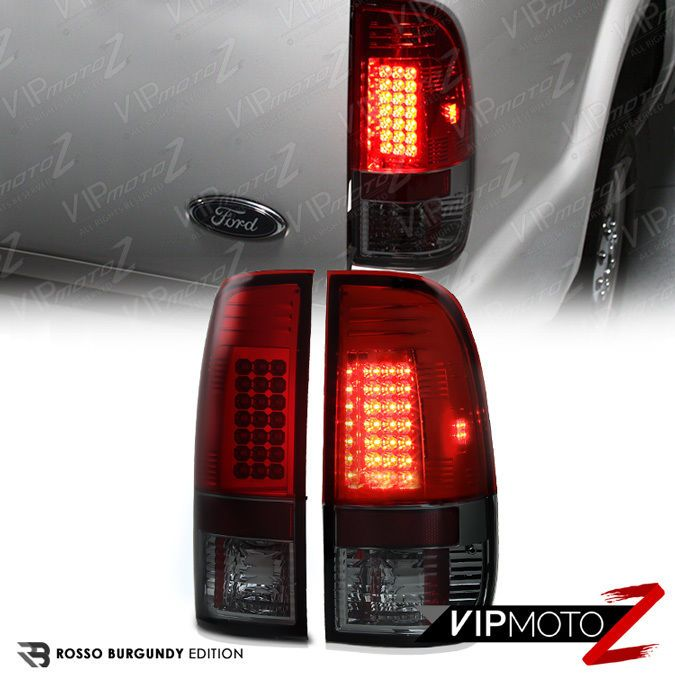 1997 2003 Ford F150 Cherry Red Smoke Led Rear Brake Signal Taillight Lamps Pair Ford F150 Tail Light Led Tail Lights