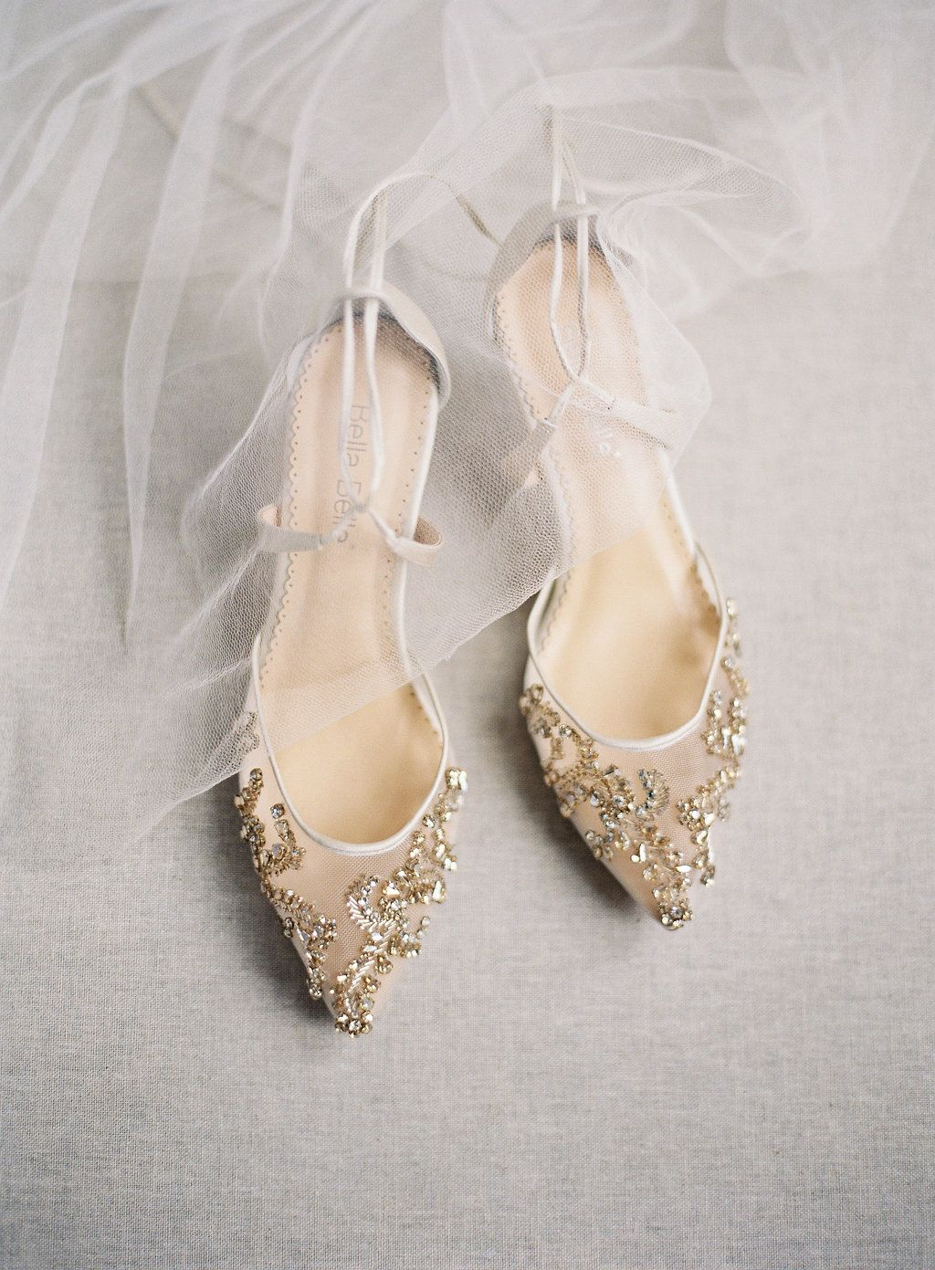 211f9101a898 ... low heel gold crystal embellished sparkly kitten heel wedding shoe  captured beautifully by Laura Gordon. Ballerina inspired ankle strap to  elongate your ...