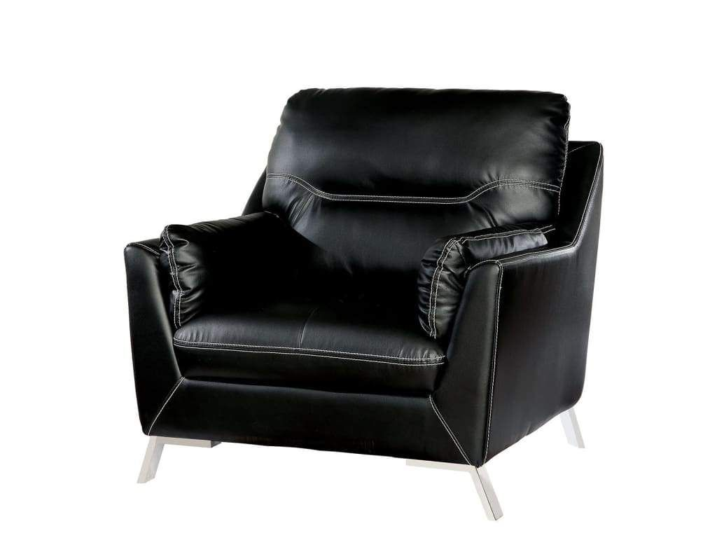 Leather Upholstered Chair With Metal Flared legs, Black
