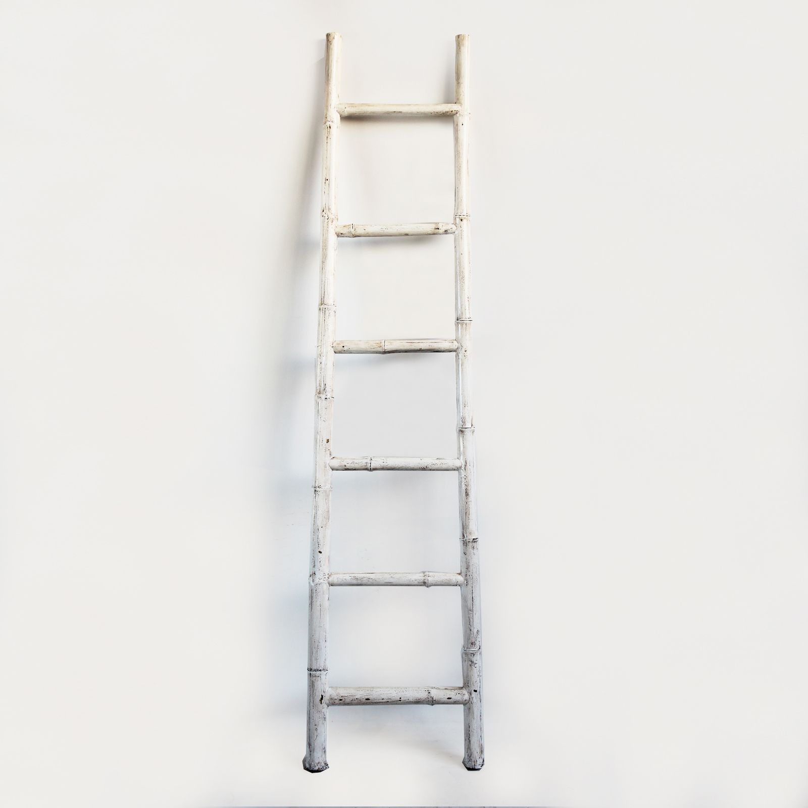 New At MIX! Bamboo Ladder. White Painted Finish. Ladder