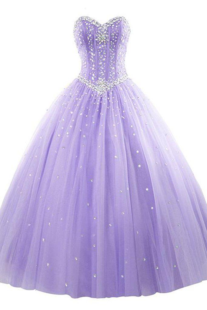 Light Purple Organza Princess Sweetheart A Line Beading Rhinestone