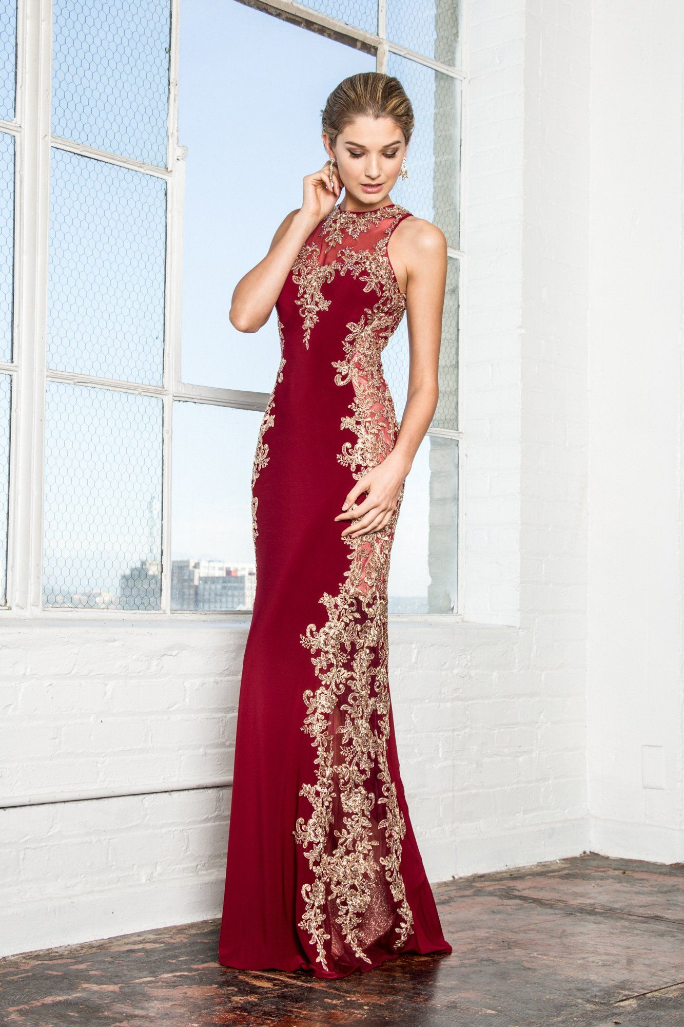4dd6ebf41a48 Trendy plus size prom dress & evening gown with gold lace accents. A long  fitted