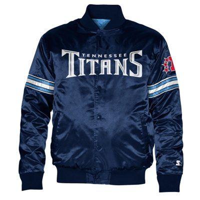 a3d97c46 Starter Tennessee Titans Satin Varsity Midweight Button-Up Jacket ...