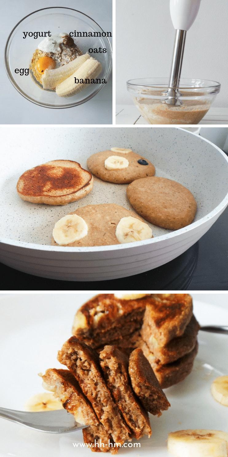 Healthy banana pancake recipe! These banana oatmeal pancakes are a healthy and easy breakfast that i...