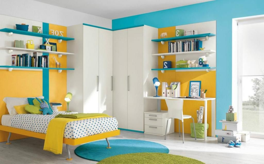 Nice Looking Childrenu0027s Room In Shades Yellow With Blue Green Round Rug On  Wooden Floor As