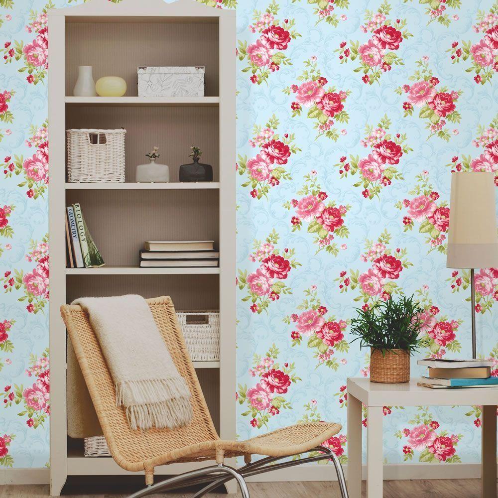 Coleman papier peint mural floral ancien bleu rose for Bricolage mural