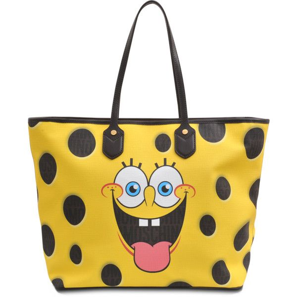 Moschino Sponge Bob Tote ($415) ❤ liked on Polyvore featuring bags, handbags, tote bags, yellow tote, zipper purse, yellow handbag, zip tote bag and yellow tote bag