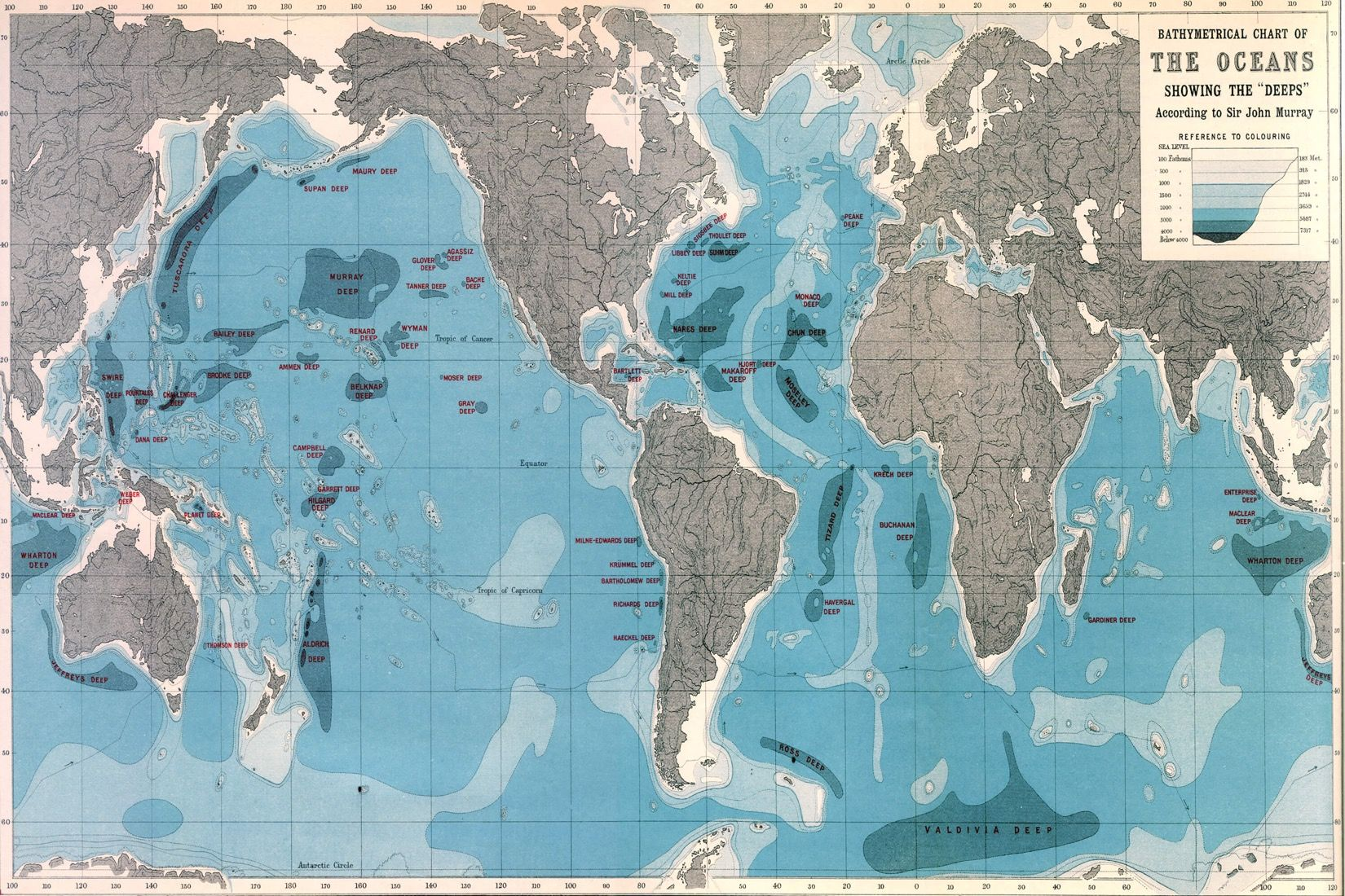 World ocean depths map wallpaper mural ocean depth design world ocean depths map mural custom made to suit your wall size by the uks gumiabroncs Choice Image