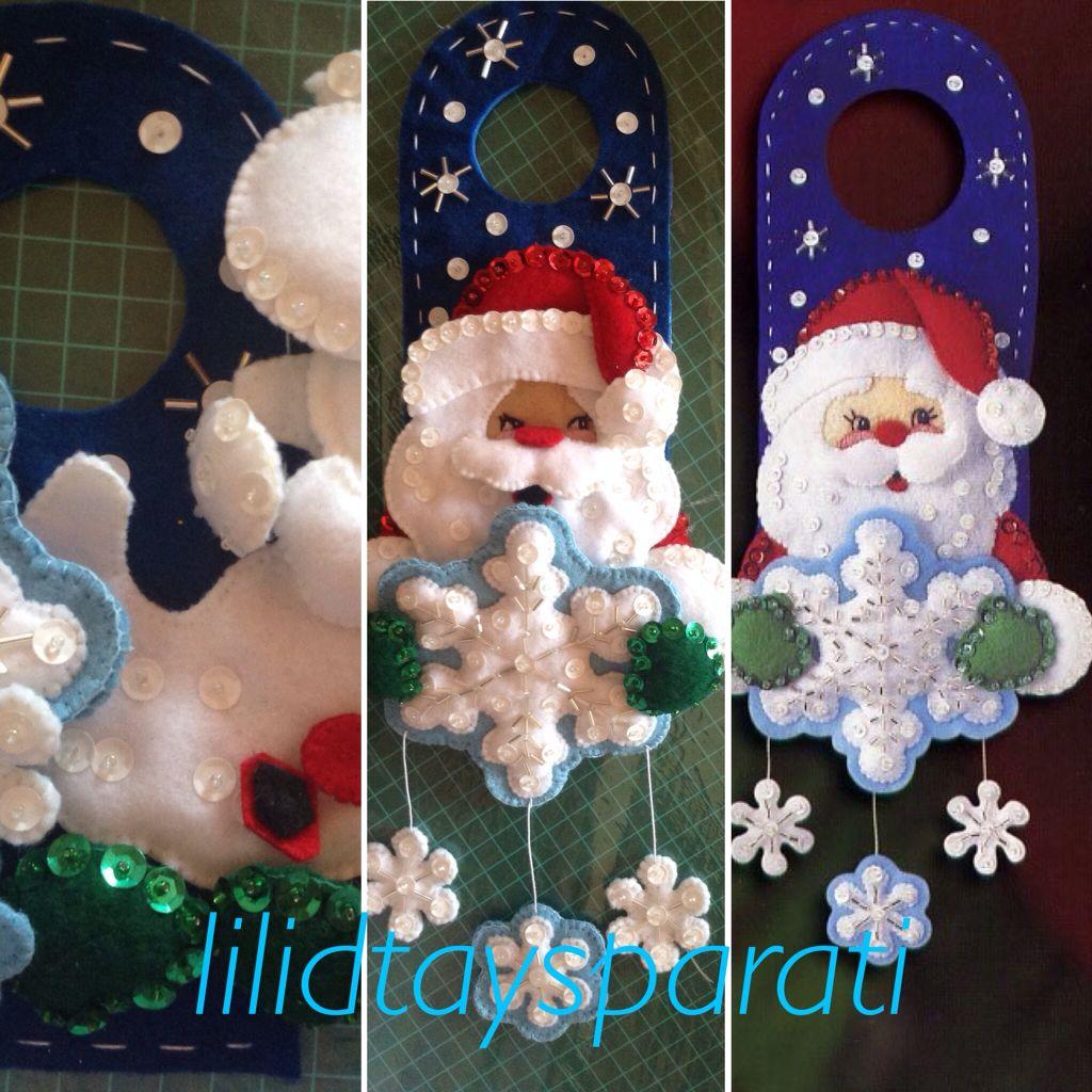 Picaporte en fieltro chaquira lentejuela y canutillo santa navidad pinterest decoracion - Manualidades decoracion de navidad ...