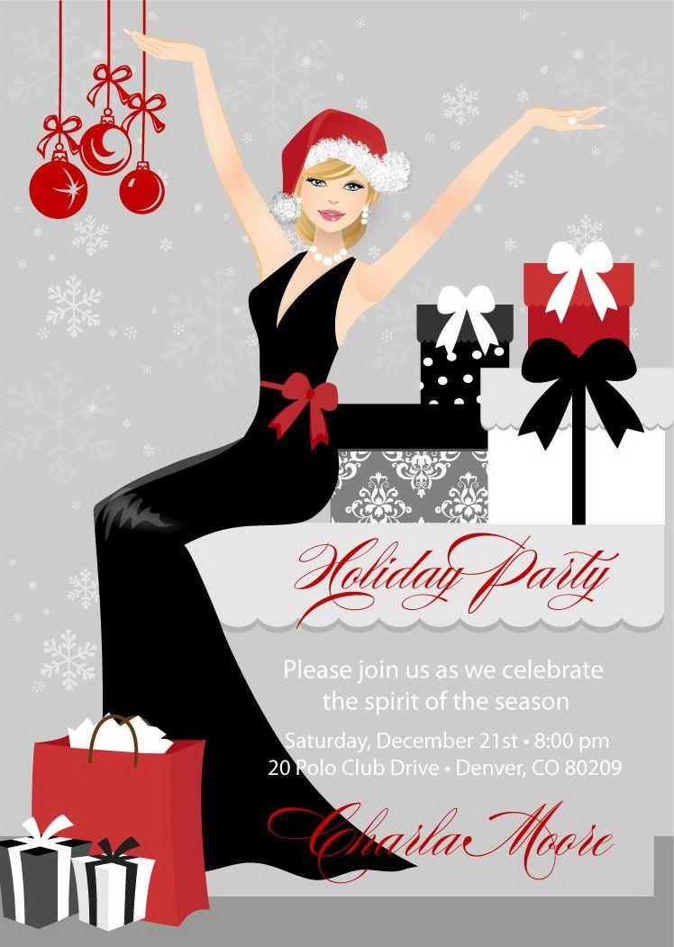 Fancy Christmas Party Ideas Part - 49: Elegant Christmas Party Invitations