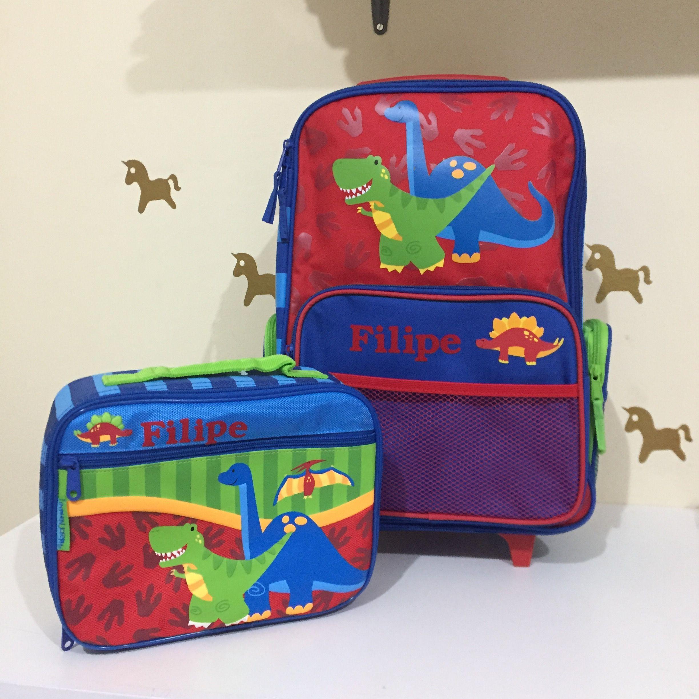 1d2b64635 Mala e lancheira clássica dinossauro Stephen Joseph, personalizados pela  Lojinha da Mamãe!