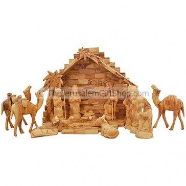 Made in Bethlehem from Olive Wood Holy Land Product Nativity Set Deluxe