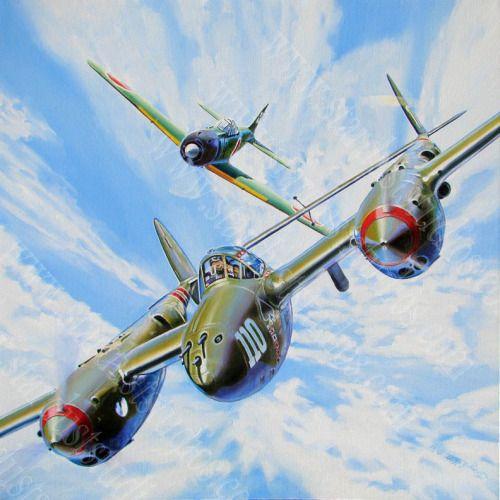 P-38 perseguido por un Zero ~ BFD