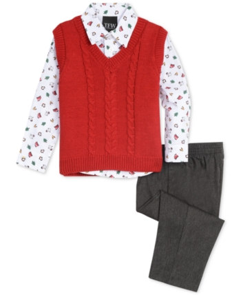 Tfw Baby Boys 3 Pc. Cable Knit Sweater Vest, Printed Shirt