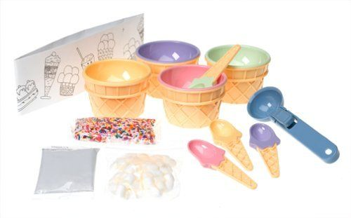 Sassafras Ice Cream Sundae Kit by Sassafras. $30.98. Also includes ice cream scoop, set of 4 cups and spoons, and fun ice cream hat. Ice cream not included. Collection of ice cream ideas to spark kids' imaginations. Ice cream sundae kit features mini marshmallows, chocolate sauce, and color sprinkles. Perfect for birthday parties. Our Kid's Ice Cream Sundae Kit includes everything a child needs to throw a little ice cream social. Kit includes: chocolate sauce, min...