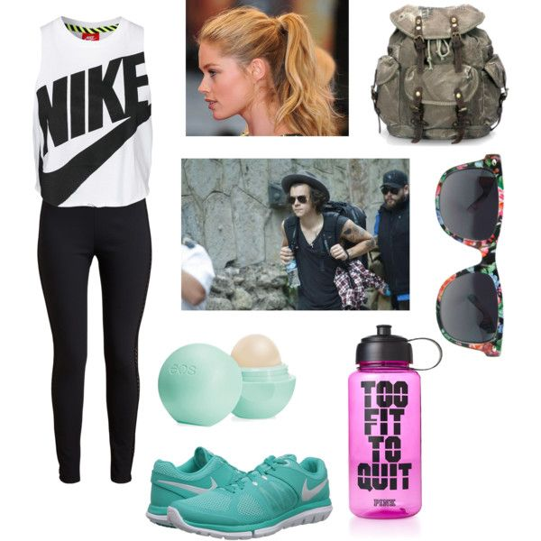 hiking w harry by the-older-sister on Polyvore featuring polyvore fashion style NIKE STELLA McCARTNEY Eos Victoria's Secret PINK Champion