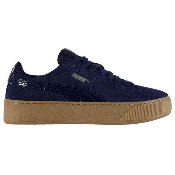 puma damen vikky platform sneakers blau