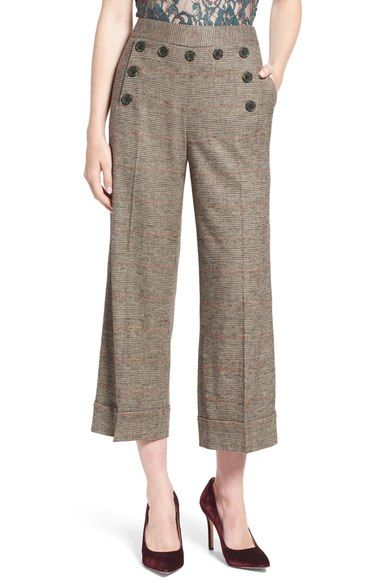 Olivia Palermo + Chelsea28 Glen Plaid Crop Wide Leg Pants available at…