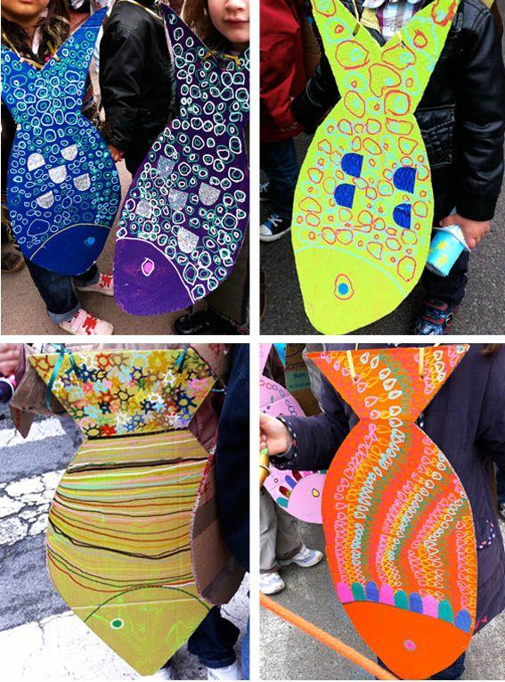 2nd grade MARE--Fish art Use pizza cardboard.  T cuts along drawn lines, stu paint. Stamp design, paint markers, glitter.