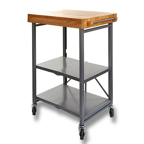 Origami Folding Kitchen Island Cart With Casters With Images