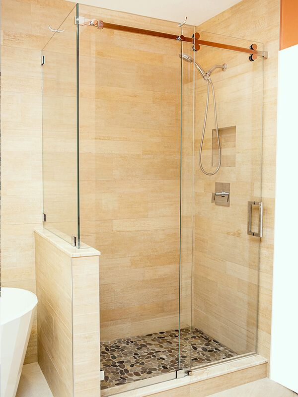 Barn Door Style Sliding Glass Shower Door With Half Wall Build Up Shower Remodel Frameless Shower Doors Glass Shower