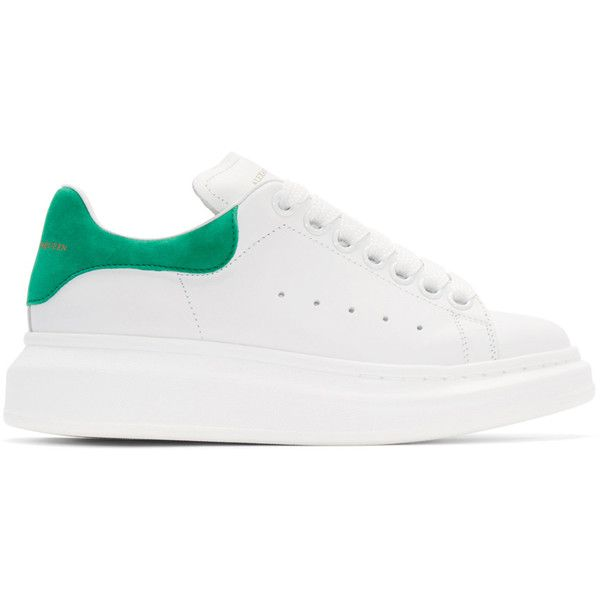 Alexander McQueen White and Green Leather Sneakers (695 CAD) ❤ liked on Polyvore featuring shoes, sneakers, white trainers, white sneakers, green shoes, white leather shoes and leather sneakers