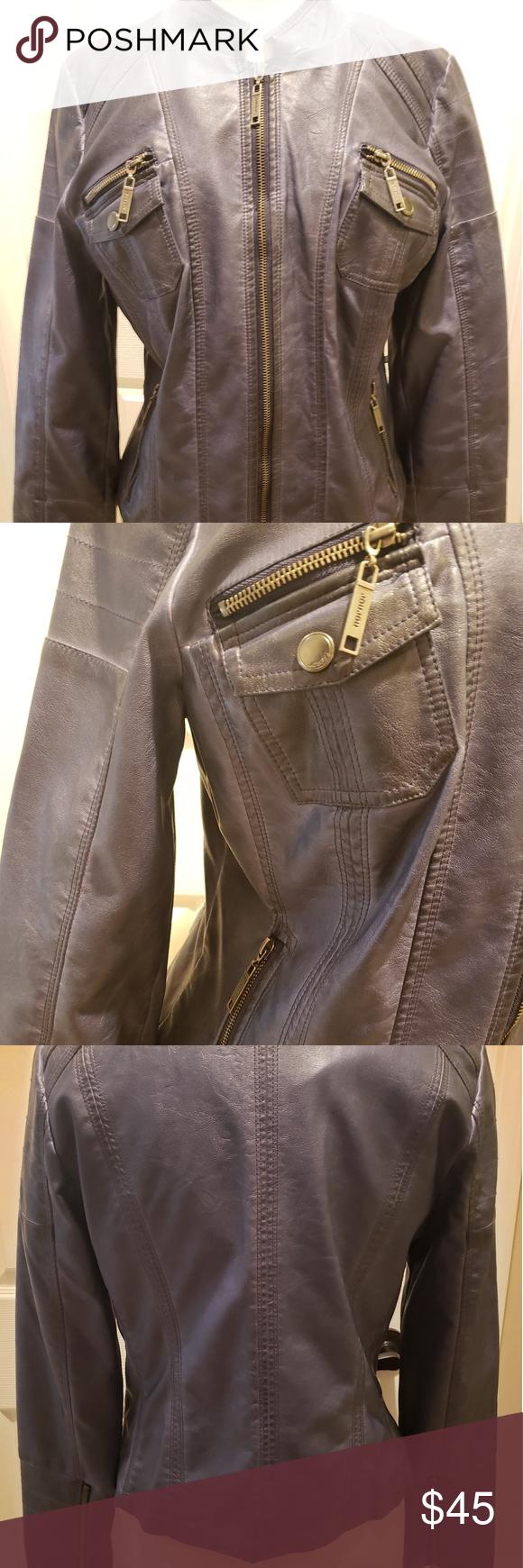 Jou Jou Jacket Blue Leather Jacket With Gold Zipper Details Jou Jou Jackets Coats Jackets Leather Jacket Blue Leather Jacket [ 1740 x 580 Pixel ]