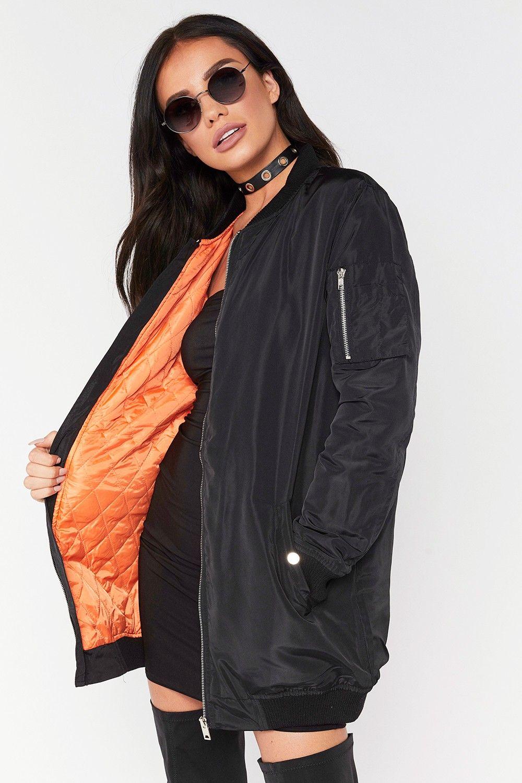 Angela Black Longline Bomber Jacket Longline Bomber Jacket Women Long Bomber Jacket Bomber Jacket Women [ 1500 x 1000 Pixel ]