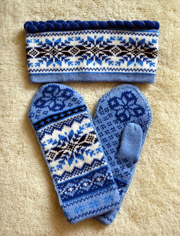 363c3be1f1e NORWEGIAN Scandinavian Hand Crafted 100% wool HEADBAND and MITTENS ...