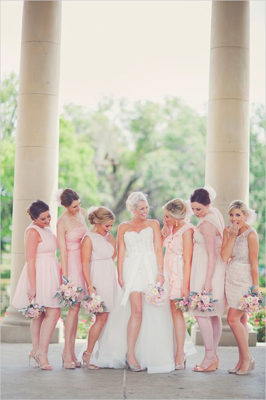 pink bridesmaid dresses #bridesmaids #bridalparty #weddingchicks http://www.weddingchicks.com/2014/04/11/pink-party-wedding/