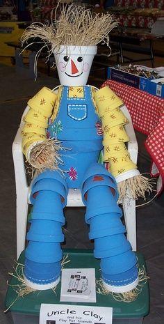 Clay pot scarecrow.: