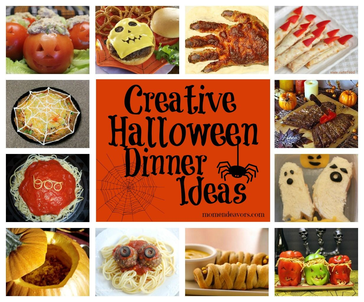 Links to lots of creative #Halloween dinner ideas & side dishes! via  momendeavors.